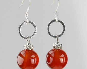 Carnelian stone drop hoop earrings Bridesmaids gifts Free US Shipping handmade Anni Designs