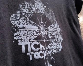 TICK TOCK black screen print tee shirt