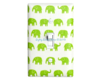 Lime Green Elephant Light Switch Plate / Baby Boy Girl Nursery Decor / Gender Neutral / Kids Room / Slightly Smitten Kitten Tiny Tip Top