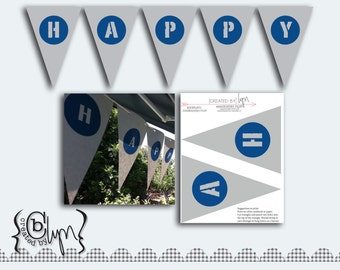 Instant Download Happy Birthday Banner (Matches Shark Frenzy Party)