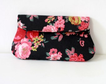 Black Floral Clutch, Bridesmaid clutch, bridesmaid gift, black and pink flower clutch