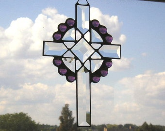 Stained Glass Art Suncatcher|Cross Suncatcher|Celtic Cross|Beveled Glass Cross|Amethyst|Handcrafted|Made in USA