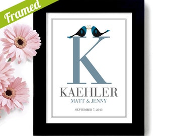 Unique Engagement Gift for Couple Unique Wedding Gift Personalized Art Print Lovebirds Family Name Monogram Mr and Mrs Bride and Groom