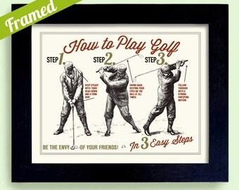 Golf Art Gift Fathers Day Gift Unique Framed Golf Gift Wall Art How to Play  Golf Lesson Unique Golf Art Golf Enthusiast