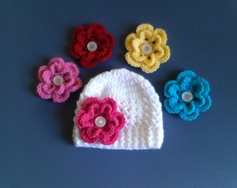 Newborn Girl Hat, Baby Girl Hat, Baby Hat with 5 detachable flowers