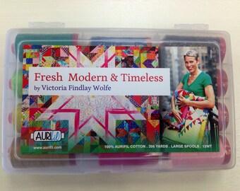 Fresh Modern & Timeless Aurifil Cotton Thread Premium Collection: 12 LG spools of 12 wt