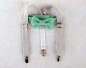 Mint bow tie, Ring Bearer set, bow tie suspenders, braces and tie, suspender set, cake smash, ring boy, baby boy, toddler boy, baby boy prop