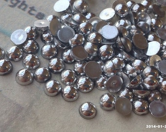 3/4/6/8/10mm Silver Colour Flat Back Pearl Cabochons (.mma)