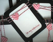 Valentines Day Cards set of 8 with Envelopes-Pink Hearts and Be My Valentine