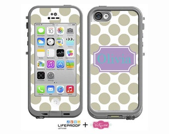 Polka Dots Monogrammed Decal for LifeProof iPhone 6/6s, iPhone 6/6s PLUS, iPhone SE, iPhone 4/4s, iPhone 5/5s or iPhone 5c Case