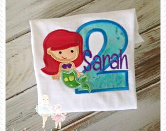 Mermaid shirt - red haired mermaid shirt - 1st birthday mermaid shirt - 2nd birthday mermaid shirt - embroidered mermaid themed shirt