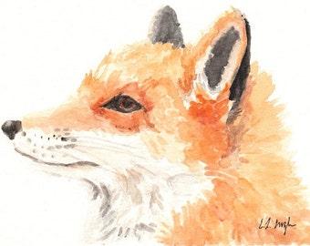 Watercolor Fox, Original Animal Painting, Fox Illustration, forest, woodland, orange, white, 5x7