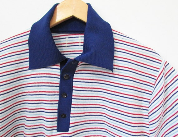 Terry cloth polo shirt men 39 s vintage 70s m l for Mens terry cloth polo shirt