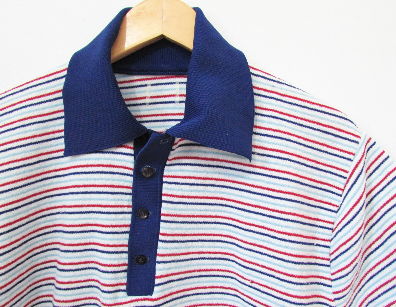 Terry cloth polo shirt men 39 s vintage 70s m l for Terry cloth polo shirt