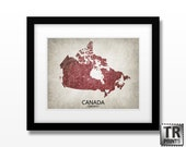 Canada Country Map Print - Home Is Where The Heart Is Love Map - Original Custom Map Art Print Available in Multiple Size and Color Options