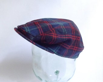 Plaid Driving Cap - Pendleton - Mens Wool Golf Hat - Newsie - Green Black Blue Red - Size Large - Made in USA