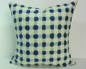 Blue and Sea Foam Green Plaid Decorative Pillow Cover, 18 x 18