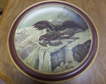 Hand Painted EAGLES on WOODEN PLAQUE Wild Life Woodlands Mountains American Eagle Falcon Hawk Primitive Antique Bird of Prey Nature Bird