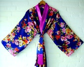 Kimono Purple Blue Pink Rozes Red Yellow Green Elegant Long