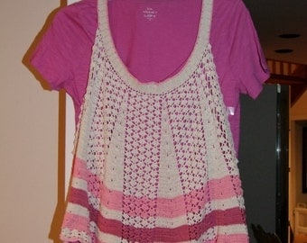 Vintage crochet Apron ala 1950s made into current blouse