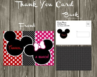 Mickey Mouse and Minnie Mouse Digital Birthday Thank You Card | Mickey Thank You Card | Minnie Thank You Card | Twin Thank You Card
