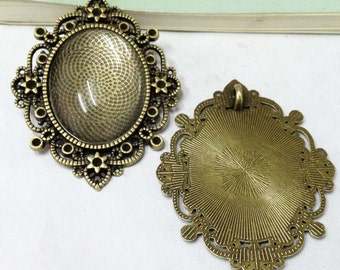 Cabochon Base -3pcs Antique Bronze Cabochon Setting Bezel Pendants 30x40mm F405-3