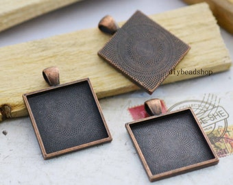 5pcs 25x25mm Antique Copper Square Cameo Setting Base Charm Pendant F202-5
