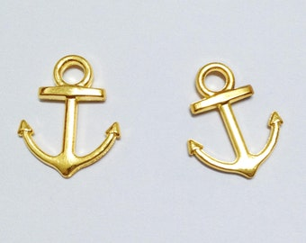 Anchor charms -25pcs Gold Plated Anchor Charm Pendants 15x18mm D409-1