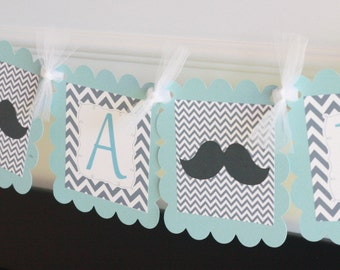 "Light Blue and Grey Chevron - ""Little Man"" or ""Its a Boy"" Bowtie or Mustache Baby Shower Banner - Ask About Party Pack Specials"