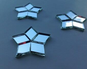 Mosaic Tiles - 100 Mirror Diamonds for FIVE-POINT STARS - Silver Mirror Glass