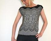 Cap Sleeves Top - Lace Like Pattern - Viscose Jersey - Black Grey White