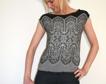 Cap Sleeves Top - Lace Like Pattern - Viscose Jersey - Black Grey White
