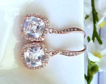 Wedding Earrings Bridal Earrings - Halo Clear White Square Cubic Zirconia (Not Foiled Back) with ROSE GOLD Plated CZ Earings