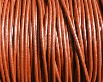 1.5mm Metallic Copper Leather Cord  -  Genuine Leather 1.5mm Round Cord