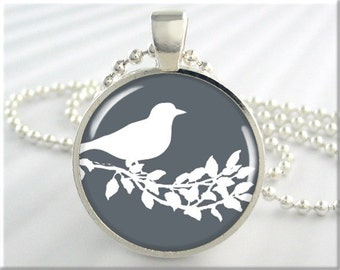 Bird Art Pendant, Gray Silver Accessories, Bird Silhouette Art Jewelry, Bird Necklace, Round Silver Pendant, Gift Under 20 (667RS)
