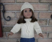 Fishermen knit pullover sweater and hat for American Girl Doll