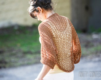 Knit Shrug Knit Bolero Crocheted Shrug Knit Lightweight Sweater Lacy Golden Shrug