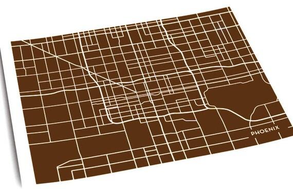 Phoenix City Map Art Print / Arizona Wall Art Poster / 8x10 Digital Print / Available in any Color