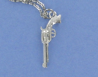 SIX SHOOTER Gun - Pewter Charm on a FREE Plated Chain