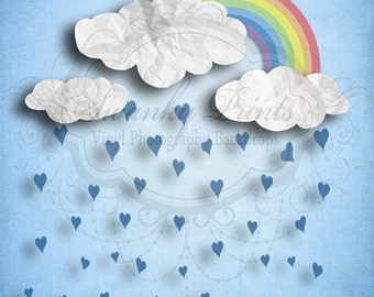 SWANKY PRINTS ORIGINAL 5ft x 5ft Vinyl Phogoraphy Backdrop / Rainy Day Love Shower