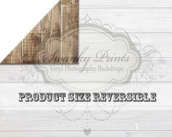 PRODUCT SIZE / 2ft x 2ft REVERSIBLE Vinyl Backdrop / Double sided / Brown Washed Washed Out White Wood