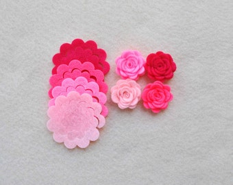 12 Piece Die Cut Felt DIY 3D Roses in Small Size, Pinks