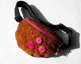 fanny pack/hip bag -  brown and mauve (medium size)