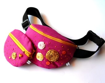 fanny pack/hip bag with a purse - dark mauve/pink and mustard