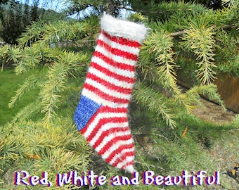 Red, White and Beautiful Knit Christmas Stocking