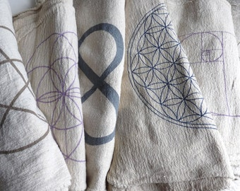 CRYSTAL GRID CLOTHS --- set of 6 -- 100% cotton, all natural, sacred geometry, grid templates
