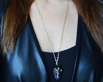 Hematite Skull Necklace