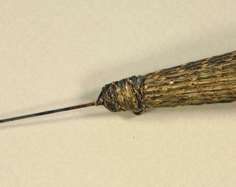Antique Gold Thread Wrapped Hatpin