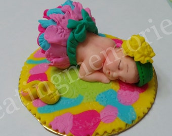 FONDANT BABY TOPPER - edible cake baby topper. Full of lots of bright colors.