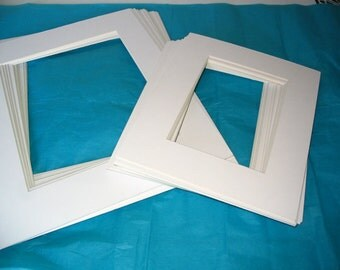 Mat Boards Set Six (6)  8 X 10 Antique White Beveled Art Projects Frames